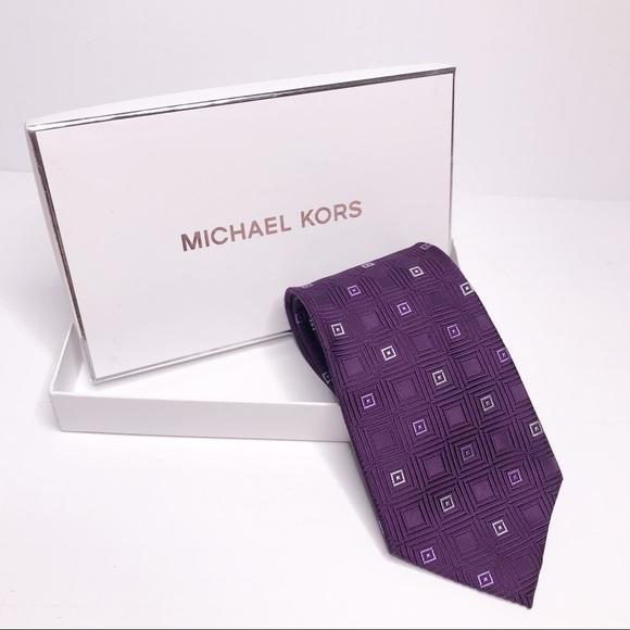 "Michael Kors Purple Silk Tie Squares 64x3.75"""